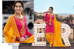 4104 Cotton Embroidered Patiala Suit