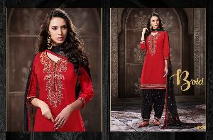 4227 Cotton Embroidered Patiala Suit