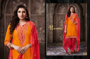 4228 Cotton Embroidered Patiala Suit
