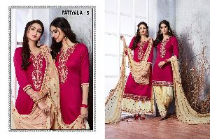 5 Cotton Embroidered Patiala Suit