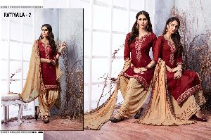 7 Cotton Embroidered Patiala Suit