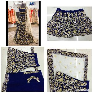 9003-A Embroidered Velvet Silk Lehenga Choli