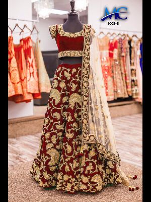 9003-B Embroidered Velvet Silk Lehenga Choli