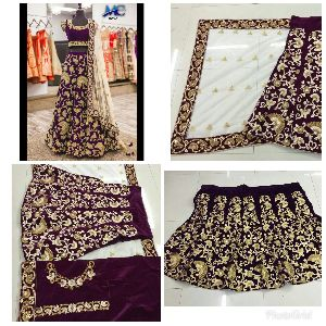 9003-C Embroidered Velvet Silk Lehenga Choli