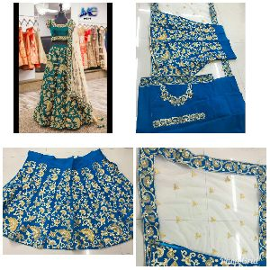 9003-E Embroidered Velvet Silk Lehenga Choli