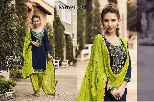 Cotton Embroidered Patiala Suits