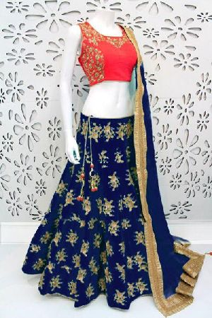 Embroidered Banglori Silk Lehenga Choli 03
