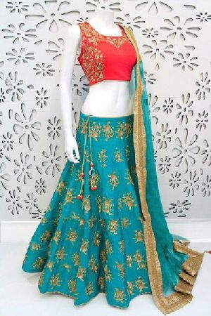 Embroidered Banglori Silk Lehenga Choli 04