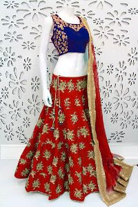 Embroidered Banglori Silk Lehenga Choli