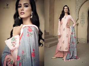 Amyra Embroidered Silk Palazzo Suit 01