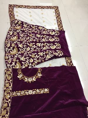 Embroidered Velvet Silk Lehenga Choli 04