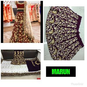 Embroidered Velvet Silk Lehenga Choli 05