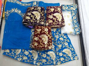 Embroidered Velvet Silk Lehenga Choli 06