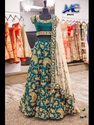Embroidered Velvet Silk Lehenga Choli 07