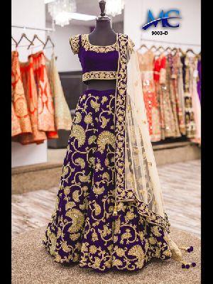 Embroidered Velvet Silk Lehenga Choli 08