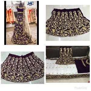 Embroidered Velvet Silk Lehenga Choli