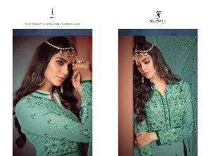 Khwaish Embroidered Silk Palazzo Suit 01