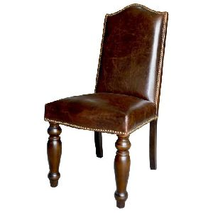 DISTRESSED FINISH LEATHER DINING CHAIR