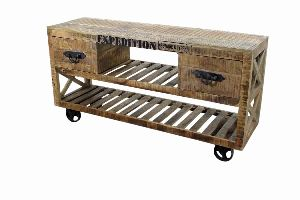 INDUSTRIAL CART CONSOLE TABLE