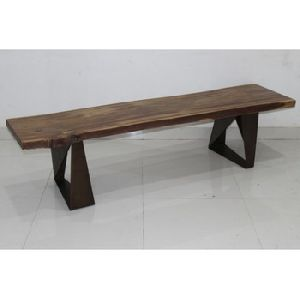 iron metal and acacia live edge wood patio bench
