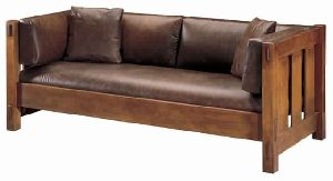 LEATHER SOFA WITH WOODEN BASE