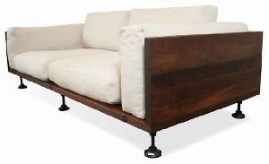 MODERN CONTEMPORARY RECLAIMED WOOD CAST IRON SOFA