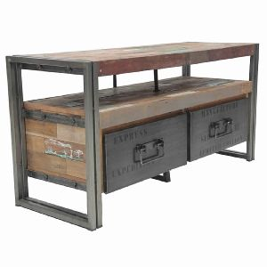 TWO DRAWERS INDUSTRIAL CONSOLE TABLE