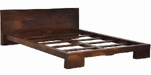 WALNUT FINISH WOODEN BED
