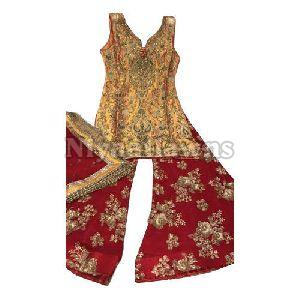 Elegant Mustard And Red Plazo Suit