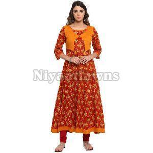 Floral Printed Stitched Party Wear Anarkali Cotton Kurti