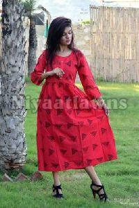 Jaipuri Bandhej Woman Long Plated Kurti