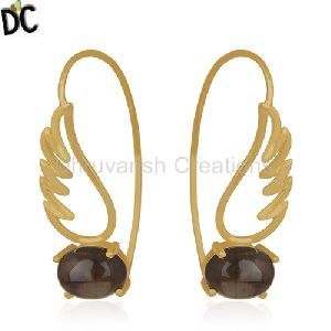 14K Gold Plated Silver Angel Wing Designer Hook Earring