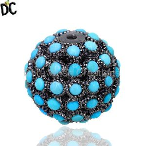 17Mm Turquoise Gemstone Pave Bead Ball