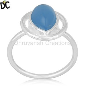 Chalcedony Blue Gemstone Fine Sterling Silver Ring