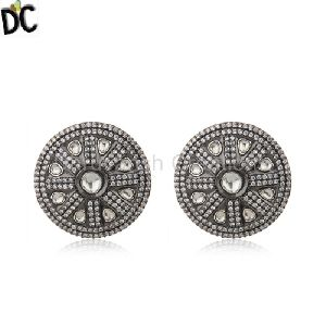Crystal And White Zircon Victorian Style Silver Round Stud Earring