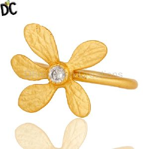 Gold Plated 925 Streling Silver Zircon Flower Ring