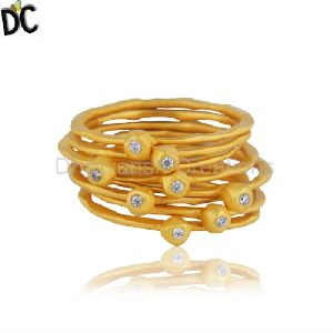 Gold Plated Silver Cz 8 Rings
