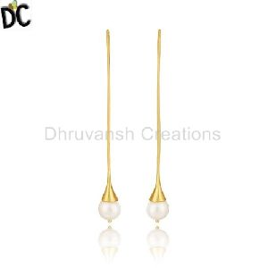 Handmade Gold Plated Brass Fashion Pearl Dangle Earring