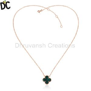 Malachite Gemstone Rose Gold Plated Sterling Silver Chain Pendant
