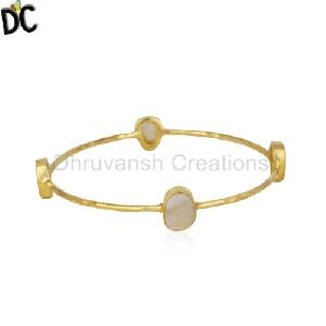 Mother Of Pearl Gold Plated Brass Fashion Stackable Bangle