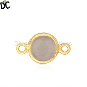 Quartz Gemstone Gold Plated 925 Silver Connector