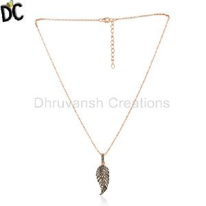 Rose Gold Plated Sterling Silver Diamond Pendant