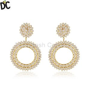 Silver Gold Plated Designer Cz Indian Earrings