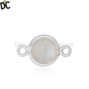 Sterling 925 Silver Rainbow Moonstone Connector