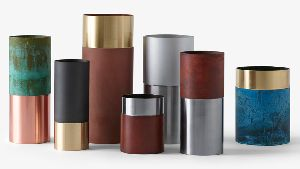 Oxidized Metal Vase