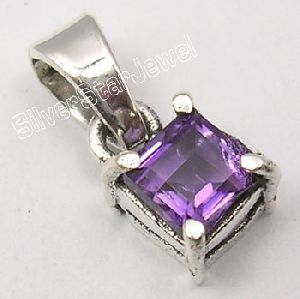 925 Silver NATURAL AMETHYST GEMSTONE Pendant