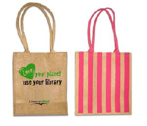 Jute promotional shopping bag for promotion with cotton handle