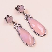 925 Sterling Pink Chalcedony Gemstone with Cz Pear shape Silver Earring