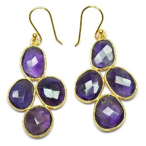 Amethyst Fancy Shape Gold Plated over 925 Sterling Silver Bezel Dangle AND Drop Earring