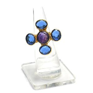 Amethyst With Blue Hydro Round and Oval Shape Gold Plated Bezel Gemstone Ring